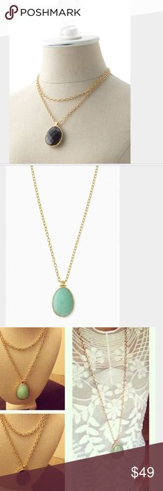 SALE! Stella & Dot Sanibel reversible pendant Classy and versatile gold pendant necklace. Can be worn multiple lengths due to hook closure. Textured black stone on one side and smooth teal/mint stone on the other. High quality necklace in perfect condition. Stella & Dot Jewelry Necklaces