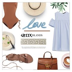 """""""⤷ 168"""" by lovaconsultancy ❤ liked on Polyvore featuring Canvas by Lands' End, Melissa Odabash, Martha Stewart, Gucci, Packandgo and greekislands"""