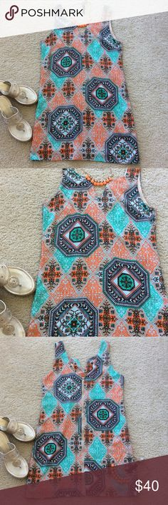 """Super cute Pink Owl shift dress One of my favs💕 Pink Owl shift dress. Gorgeous design and mix of colors. Exposed full back zip. Sleeveless. Lined. Laying flat approx 33.5"""" long, approx 17.5"""" pit to pit. 100% polyester. Size S. Excellent condition. Pink Owl Dresses Mini"""