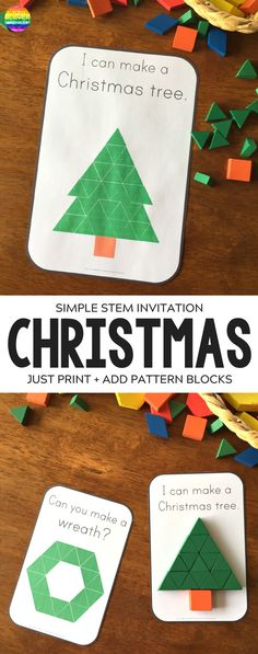 Christmas Pattern Bl Christmas Pattern Block Challenge Cards - ready to print Christmas themed challenge cards to add to pattern blocks. Perfect for math centers these cards are designed for use by beginning readers have a shape focus as well