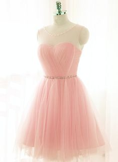 Pink Short Prom Dresses, Tulle Party Dresses, Formal Dresses, Pink Homecoming Dresses