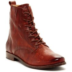 Frye Anna Lace-Up Boot ($210) ❤ liked on Polyvore featuring shoes, boots, ankle booties, ankle boots, cognac, lace up booties, lace up bootie, low heel booties and laced booties