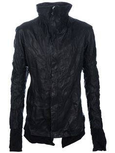 Black leather jacket from Boris Bidjan Saberi featuring a front zip fastening, raw elongated lining , fully lined,  oiled and crushed treatment, two front zip pockets and a funnel neck.