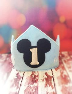 Custom first birthday Mickey Mouse crown by MyHeartnSoulBoutique, $20.00