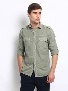 Buy GAS Men Sage Green Maui Tight Fit Shirt - 68454-143972 - Apparel for Men via @Myntra.com