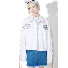 Lazy Oaf X Disney Aristocats Denim Jacket ($172) ❤ liked on Polyvore featuring outerwear, jackets, long sleeve jean jacket, white denim jacket, patched denim jacket, oversized jacket and jean jacket