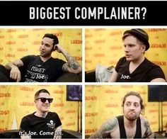 andy hurley, band, emo, fall out boy, fob, funny, joe trohman, patrick stump, pete wentz, not bad joe
