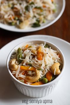 veg semiya upma recipe - a delicious breakfast or snack made from rice vermicelli, steamed veggies and spices-herbs.