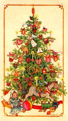 Vintage Xmas tree - illustration