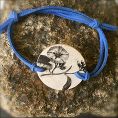 Wooden Flower Portrait Bracelet Blue, OOAK by SelfieChicBoutique on Etsy