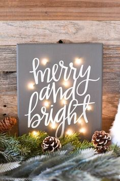DIY Twinkle Light Christmas Canvas - how to make a Merry & Bright Christmas canvas with fairy lights- instead of merry and bright maybe let your light shine! Diy Christmas Decorations, Christmas Fairy Lights, Decorating With Christmas Lights, Christmas Signs, Outdoor Christmas, Christmas Art, Christmas Projects, Holiday Crafts, Christmas Holidays