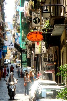 side street in downtown Naples, Italy