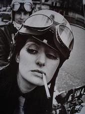 Motorcycle girl from the 60's