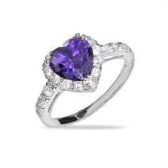 Sparkling Purple Heart Sterling Silver Amethyst CZ Ring $36.00
