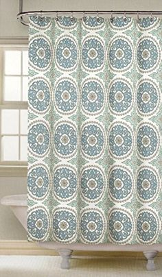 Nicole Miller Ornate Medallion Cotton Bland Fabric Shower Curtain 72 Inch By