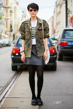 Camo women's fashion street style, Berlin