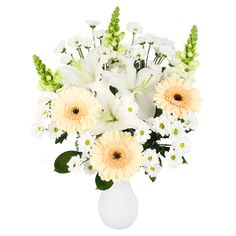 Minuet flower delivery gift service UK #summer #flowers #bouquet #summerflowers #roses #green #white #lilies #gerbera #flowerdelivery #serenataflowers