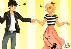 Fifties style Percabeth! OMG The Outsiders much?? Annabeth would be a greaser fighter chick too, like Percy, but okay.