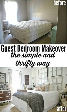 Guest Bedroom makeover on a budget! See how thrifted finds, a little paint, & some DIY made this guest bedroom lovely!:
