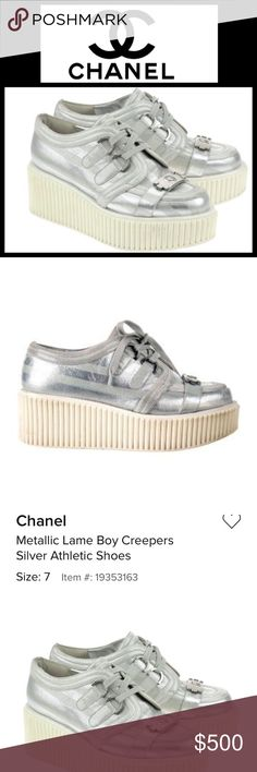 HOST PICK Chanel | Silver Lame Boy Creepers size 6 HOST PICK!! Uber cool! If these were my size you would certainly not have a chance to buy them!! Near perfect condition with a tiny bit of wear on the inside heel. EUC. Size 6. CHANEL Shoes Sneakers