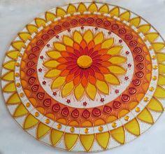 Glass Painting Designs, Dot Art Painting, Painting Patterns, Cd Crafts, Easy Crafts, Mandala Design, Mandala Art, Acrylic Rangoli, Diwali Craft