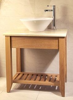 Oak Bathroom Single Wash Stand With Shelf - Aquarius Collection