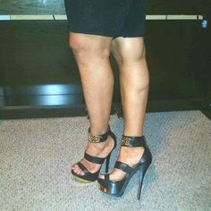 BLACK STRAP UP PLATFORM WITH ANKLE STRAPS - 8 NEW! FAUX LEATHER BLACK PLATFORM STRAP UPS WITH METALLIC ANKLE STRAPS ..HEELS MEASURES 6.25 INCHES! !! FRONT PLATFORM MEASURES 2 INCHES.. NEW NEW!!!!! unknown Shoes Platforms