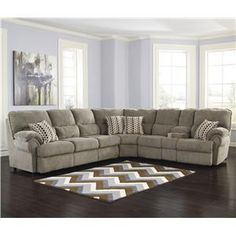 Signature Design by Ashley Comfort Commandor - Mocha Sectional w/ Recl. Loveseat & Sleeper Sofa - 9930369+77+90/no pr$ce-look at floor-color!