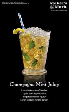 Champagne Mint Julep - The essence of spring sparkles in this floral, effervescent spin on the Mint Julep. Sparkling wine and elderflower add a touch of class to a true classic. Party Drinks, Fun Drinks, Yummy Drinks, Beverages, Kentucky Derby, Bourbon Cocktails, Cocktail Drinks, Cocktail Recipes, Drink Recipes