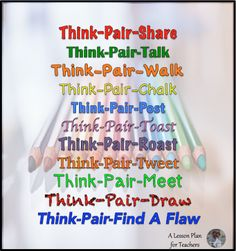 Variations for Think-Pair-Share in the Secondary Classroom - great, easy, clear descriptions! I like the additions to the original think-pair-share! Instructional Strategies, Differentiated Instruction, Teaching Strategies, Teaching Ideas, Thinking Strategies, Instructional Technology, Critical Thinking, Teaching Tools, Siop Strategies