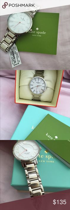 Kate Spade silver watch Authentic Kate spade watch! Never worn!!! Protective covering still on both the front and back of the watch! Pink, silver, & white! Perfect everyday watch to match any outfit! Battery not included. kate spade Jewelry Bracelets