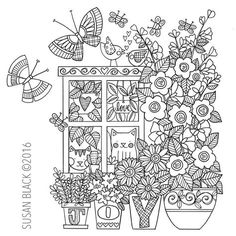 the front window of my sweet little house Free Adult Coloring Pages, Cat Coloring Page, Doodle Coloring, Flower Coloring Pages, Mandala Coloring, Printable Coloring Pages, Colouring Pages, Coloring Books, Mandala Doodle