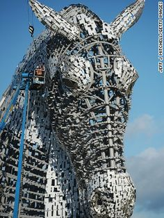 """Over six kilometers of steel was used to construct the sculptures, with 10,000 special fixings used to secure the outside """"skin"""" of each hor..."""