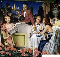 A swank evening of fine dinning with good friends. #vintage #illustration #1940s #restaurant #ad