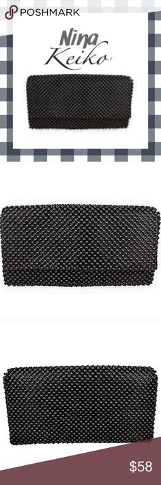 Envelope Clutch Shoulder Cross Body By Nina Keiko This alluring clutch handbag by Nina Keiko is absolutely perfect for dinner and a night on town, yet not too sophisticated for those casual afternoons, or brunch with the girls.  It's exterior is of superior leather along with a black beaded mesh design, adding to its remarkable feel and look.  The clutch bag sports a chain shoulder strap measuring 22-inches in length, and has a compact card holder found inside along with its clean soft cloth…