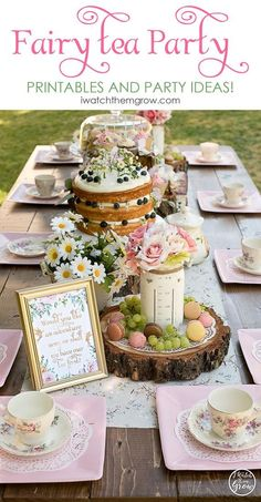 I planned this beautiful floral fairy tea party for my daughter's birthday. Take a look at all the lovely details, and see how you can create a beautiful fairy tea party too! Fairy Tea Parties, Girls Tea Party, Princess Tea Party, Garden Tea Parties, Tea Party For Kids, Vintage Tea Parties, Alice Tea Party, Party Garden, Punk Princess