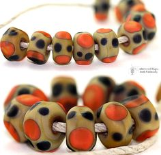 Glass lampwork beads Cheetah Organic Seeds handmade by radiantmind, $12.00