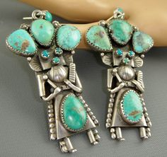 Vintage Kachina Earrings | Artist unknown (Navajo). Sterling silver and turquoise. | 843$