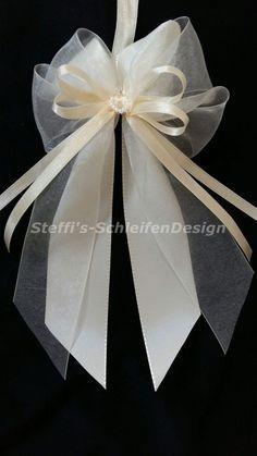 10 Antennenschleifen Autoschleifen Hochzeit creme champagner Perlenherz