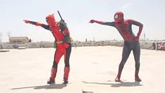 Deadpool and Spiderman dancing its amazing