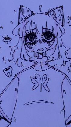 Cute Art Styles, Cartoon Art Styles, Art Drawings Sketches Simple, Cute Drawings, Indie Drawings, Dark Art Illustrations, Emo Art, Goth Art, Japon Illustration