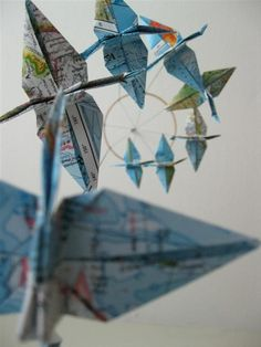 around the world origami crane mobile