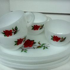 Red rose luncheon plates and tea cups.