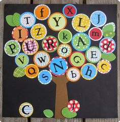 Create an alphabet tree in your primary classroom! (Durable canning lids to use as alphabet manipulatives for games, spelling, and alphabetizing) Preschool Classroom Decor, Preschool Bulletin Boards, Kindergarten Classroom, Preschool Crafts, Primary Classroom, Classroom Ideas, Preschool Ideas, Classroom Door, Daycare Ideas