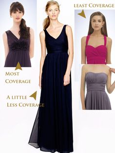 Coverage diagram:  The dress on the far right is basically our strapless dress, with straps and I think it is going to have the same issues as the strapless dresses for Jennie, but she can try it on and see how it goes.
