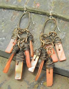 Pink Shell Swag, Mother of Pearl and Antiqued Copper earrings, ThePurpleLilyDesigns