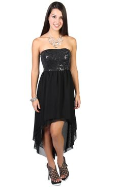 strapless high low #sequin #homecoming #dress   $39.99