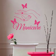 Wall Decals Beauty Salon Nail Art Manicure Vinyl Decal Interior Decor Sticker Hairdresser Hairstyle Barbers Hands Butterflies  Dear Buyers, Welcome to