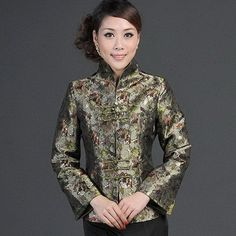 Green Brocade Mandarin Collar Traditional Chinese Jacket for Mother - iDreamMart.com