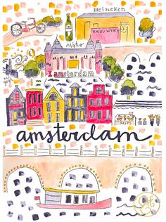 Amsterdam Map Print by Evelyn Henson Travel Maps, Travel Posters, Amsterdam Map, Amsterdam Houses, Evelyn Henson, Illustrations Vintage, Travel Illustration, City Maps, Vintage Posters